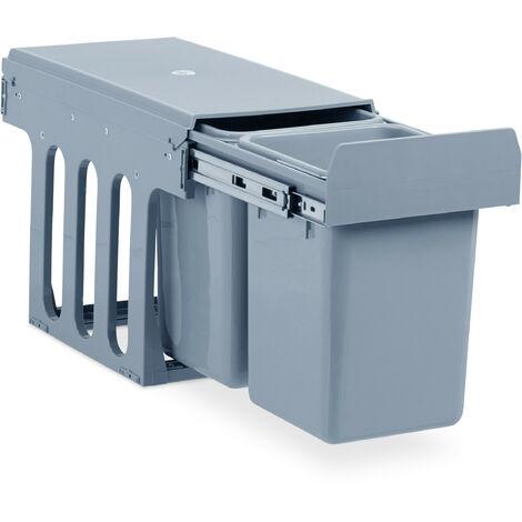 Einbaumülleimer Küche, Auszug, Duo je 8 Liter, Müllsystem Unterschrank, Kunststoff, HBT 35 x 25 x 47 cm, grau