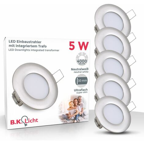 Einbaustrahler LED 5W 230V Spot Einbaurahmen Einbauspot Deckenstrahler 5er Set