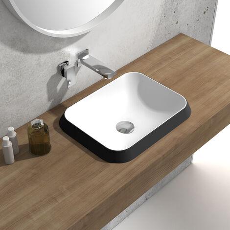 Einbauwaschbecken Waschbecken NT503 aus Mineralguss (Solid Stone) – 45 x 38 x 12 cm – Farbe wählbar