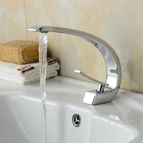 Einhebelmischer Design Waschtischarmatur Wasserhahn Chrom Bad Armatur Mischbatterie Waschbeckenarmatur für Badezimmer Waschbecken