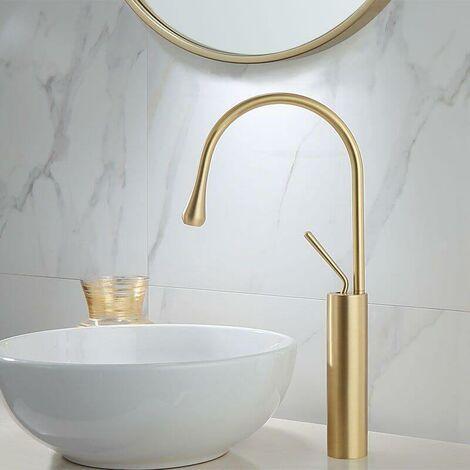 Einhebelmischer hoch für Aufsatzwaschbecken CALGARY Gold