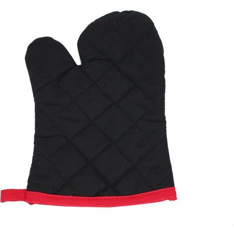 Einheiz- und Grillhandschuh Handschuh Ofenhandschuh Kaminhandschuh Schwarz Rot