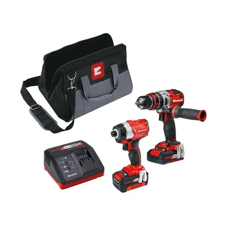 Image of Einhell 18V Brushless Combi Drill Impact Driver Kit Power X Change EINPXTWINBL