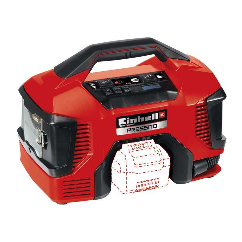 Image of Einhell 18v + 240v Compressor Inflator Power X-Change Pressito 4020460 Bare Unit