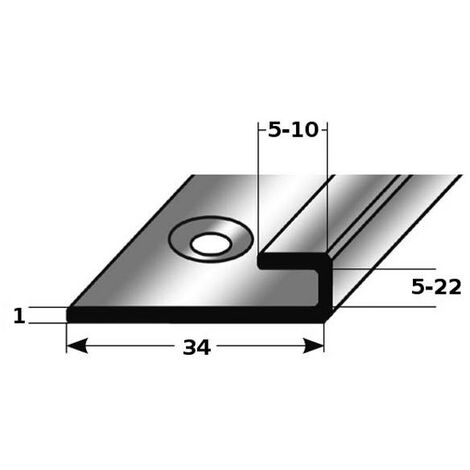 """Einschubprofil """"Craigmont"""" für Vinyl / Laminat / Parkett, mit konfigurierbarer Einfasshöhe von 5 bis 22 mm, aus mattem Edelstahl, gebohrt"""