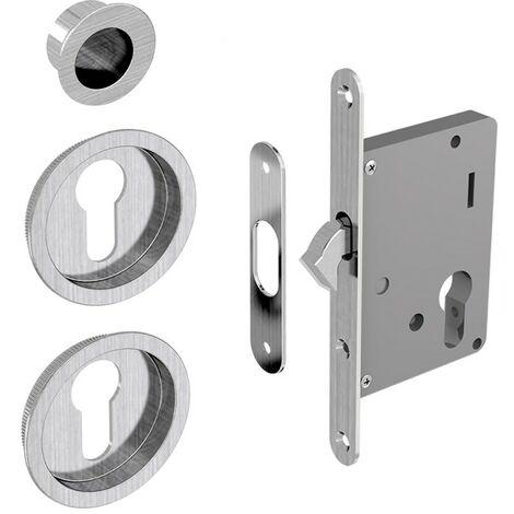 Einsteckschloss Set für Schiebetüren, geeignet für Zylinder Yale, silber, Nickel gebürstet (ohne Zylinder)