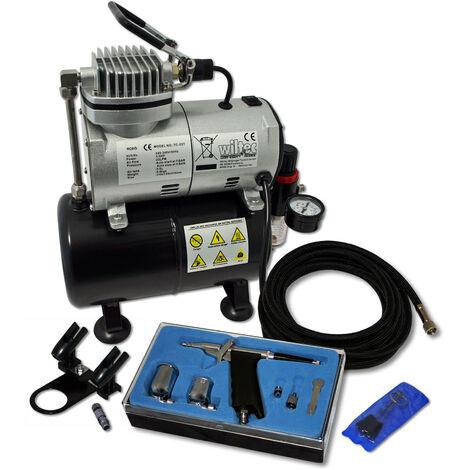 Einsteiger Airbrush Kompressor Set AS186 mit 1 Airbrushpistole und umfangreichem Zubehör