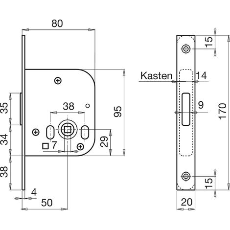 Einstemm-Riegelschloss WG 48, WC, DM 50 mm, silberfärbig verzinkt, 1 Stück | Zubehör Beschläge Einstemmschlösser