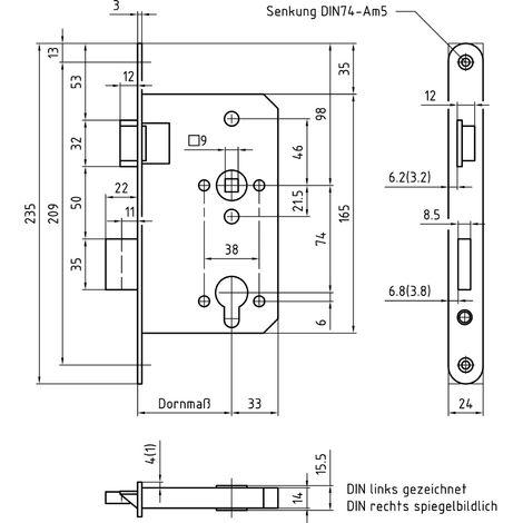 Einstemmschloss BMH 1000 KABA Rundzylinder mit Verbundfalle und Wechsel (nach DIN)