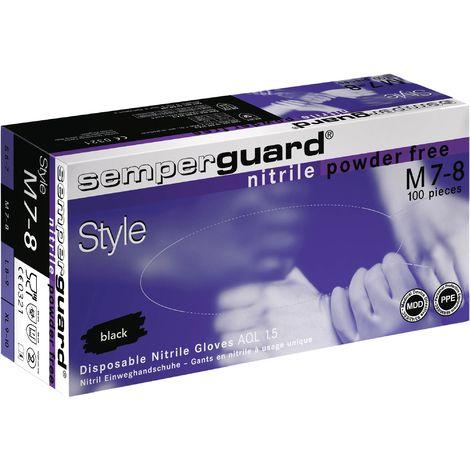 Einweghandschuhe Semperguard Nitril Style Gr.M schwarz EN388,EN374,EN455 Kat.III