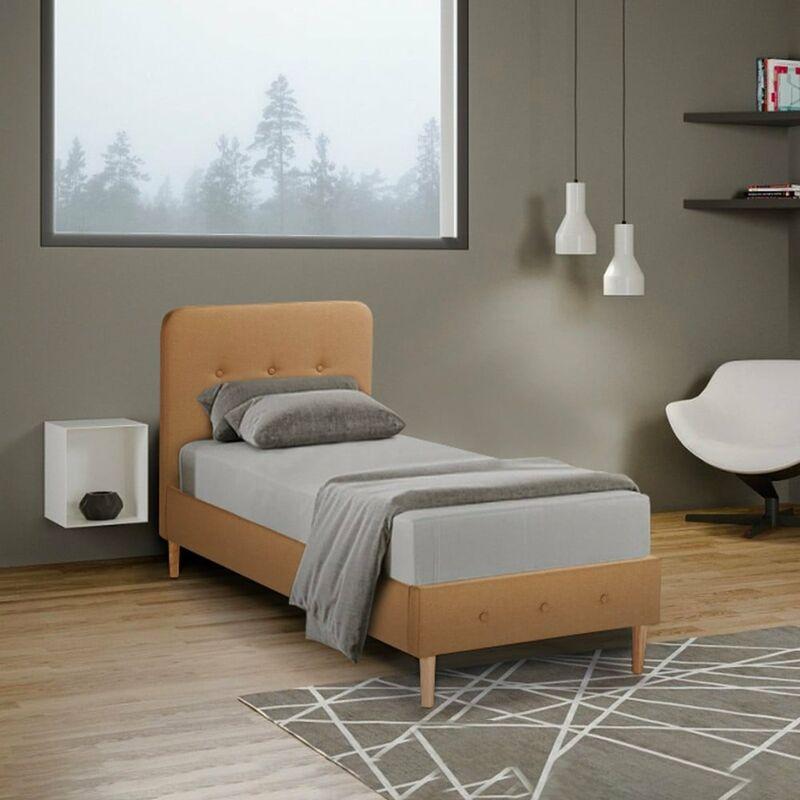 Einzelbett 1 Piazza Nordico Stoff und Holz mit Netz 80x190 Friborg Twin   Farbe: Beige - LLB LIVING LIFE BED