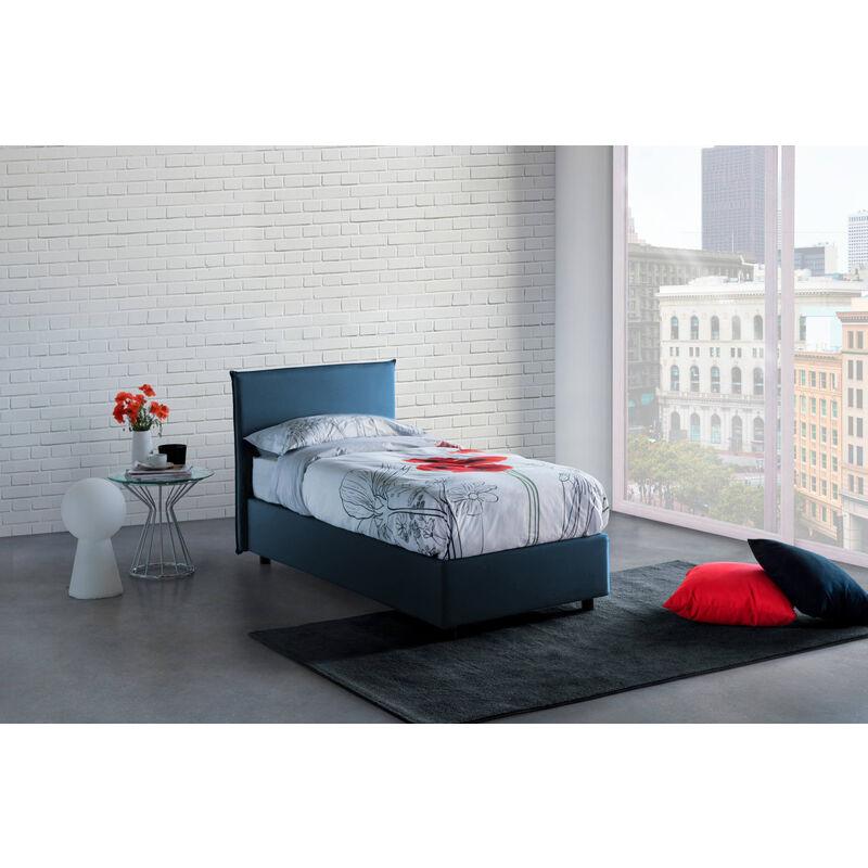 Einzelbett Anna mit herausnehmbarem Bettkasten mit seitlicher Öffnung, Blau