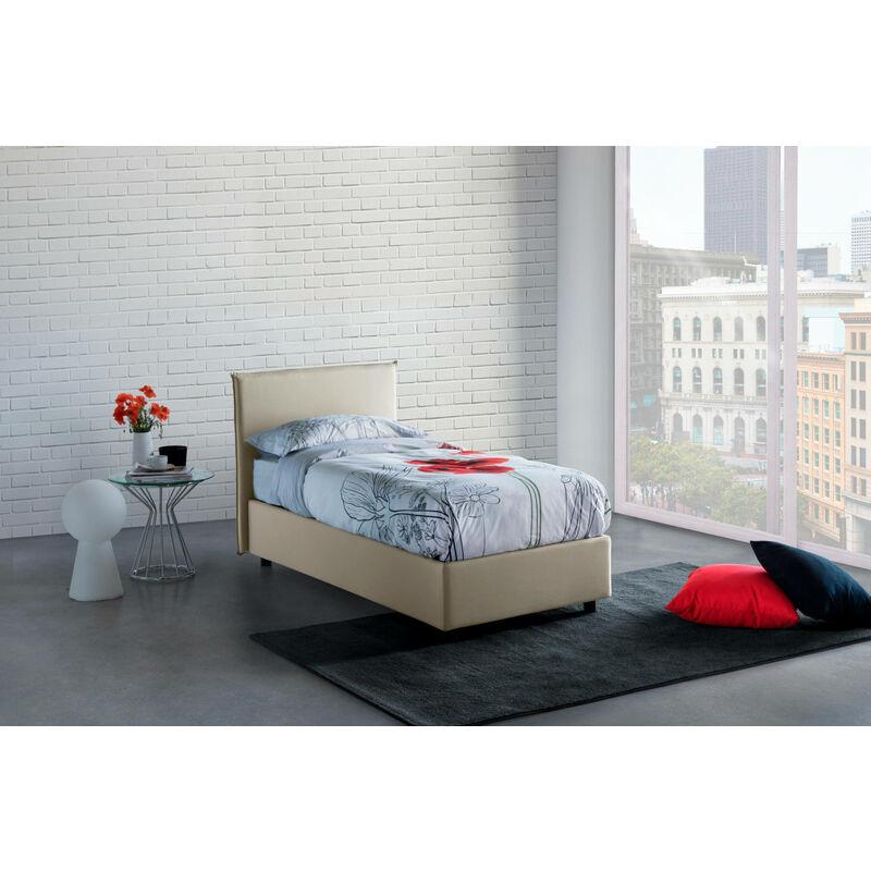Talamo Italia - Einzelbett Anna mit frontalem herausnehmbaren Bettkasten Hergestellt in Italien, Creme
