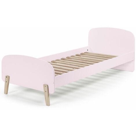 Einzelbett Jugendbett SLIGO-12 90x200 cm rosa lackiert mit massiven Füßen, inkl. Lattenrost, B x H x T ca. 205,5 x 72,5 x 95cm