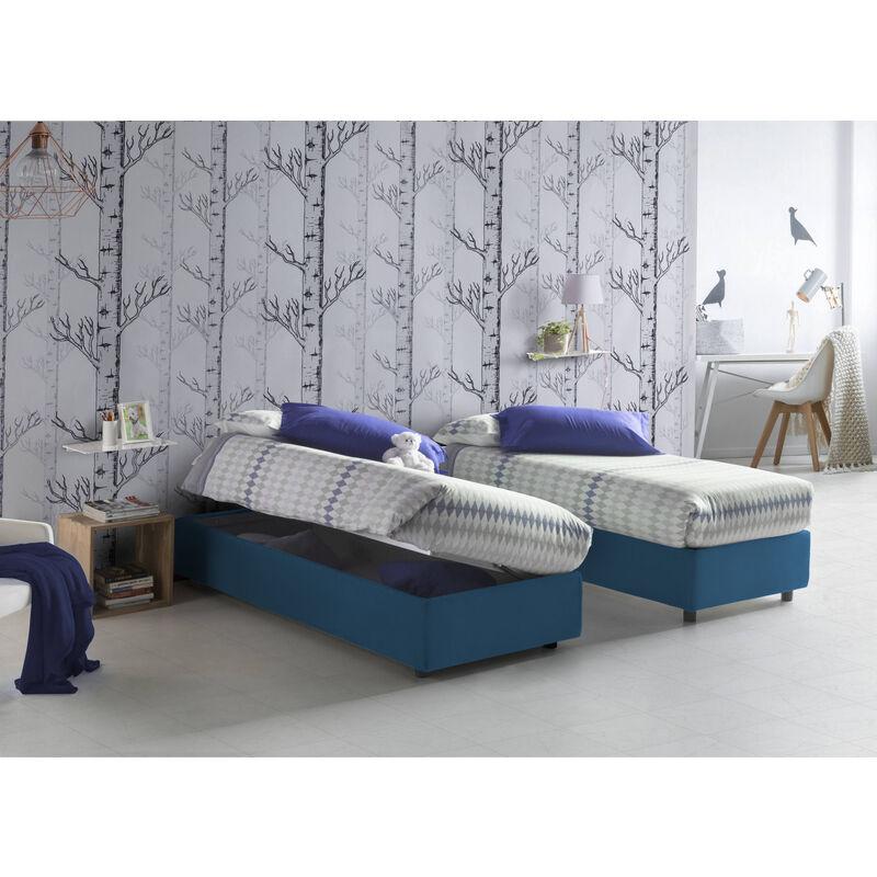 Talamo Italia - Einzelbett mit herausnehmbarem Bettkasten mit frontaler Öffnung Silvia Sommier, hergestellt in Italien Blau