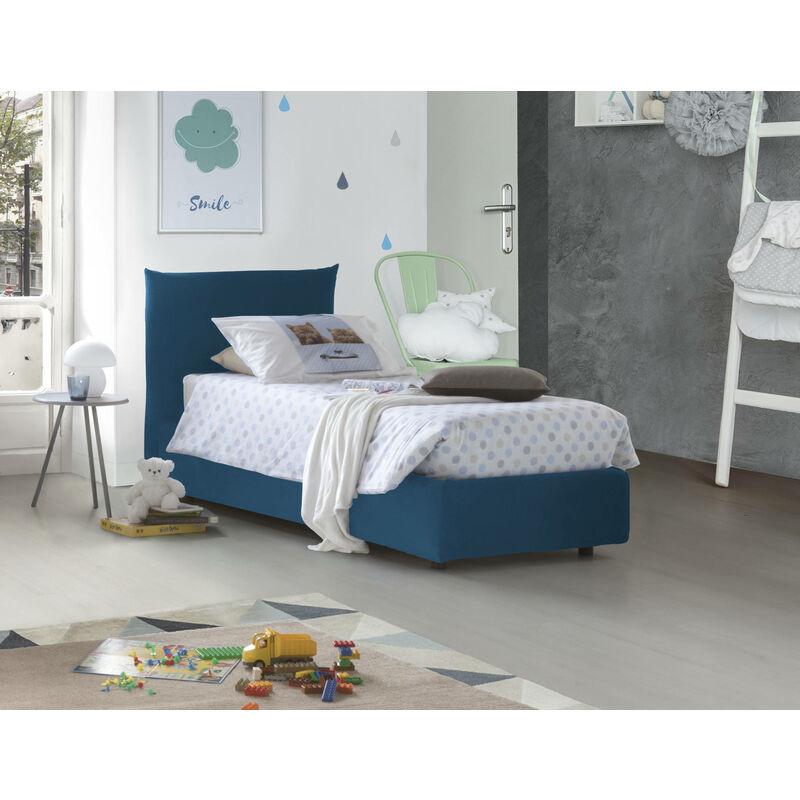 Talamo Italia - Einzelbett Rosa mit frontalen herausnehmbarem Bettkasten Hergestellt in Italien Blau