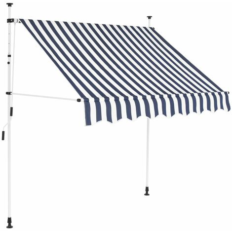 Einziehbare Markise Handbetrieben 150 cm Blau/Weiß Gestreift