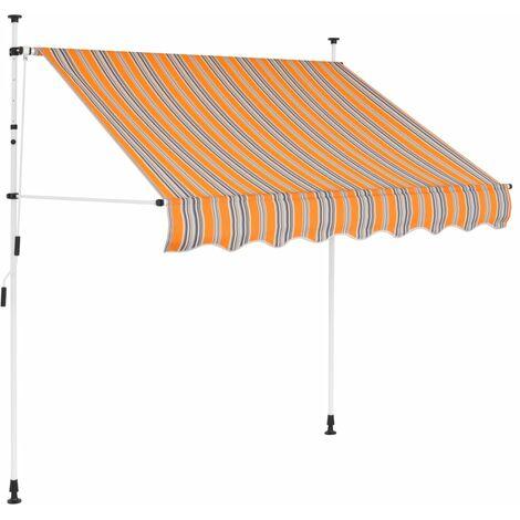 Einziehbare Markise Handbetrieben 150 cm Gelb/Blau Gestreift