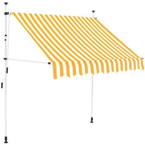 Einziehbare Markise Handbetrieben 150 cm Gelb/Weiß Gestreift