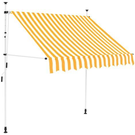 Einziehbare Markise Handbetrieben 200 cm Gelb/Weiß Gestreift