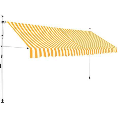 Einziehbare Markise Handbetrieben 350 cm Gelb/Weiß Gestreift