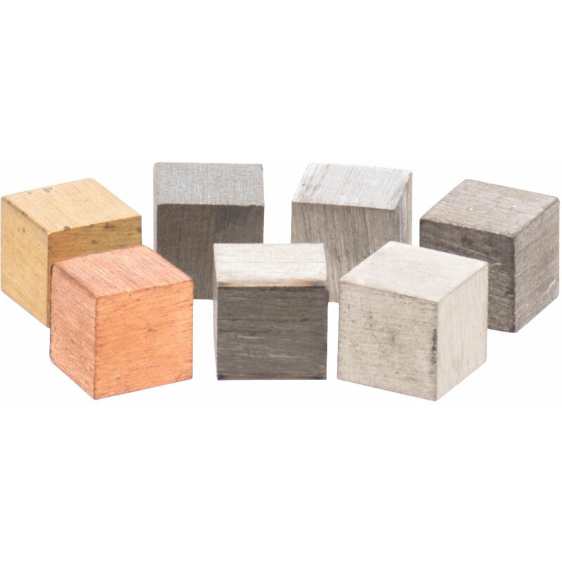 Image of Assorted 10mm Metal Cubes in Box - Set of 7 - Eisco