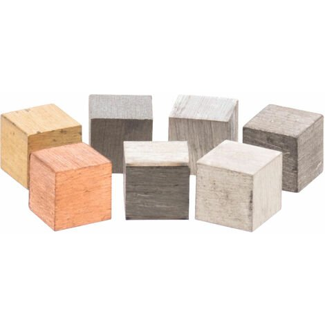 Eisco Assorted 10mm Metal Cubes in Box - Set of 7