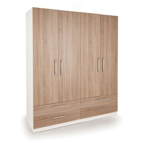 Eitan  Bedroom Double Combi Wardrobe - Oak Doors White Or Oak Frame