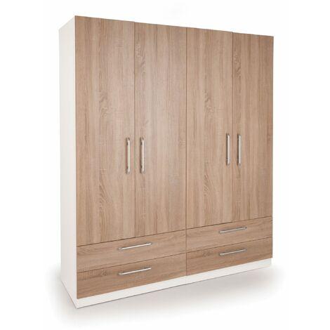 "main image of ""Eitan  Bedroom Double Combi Wardrobe - Oak Doors White Or Oak Frame"""