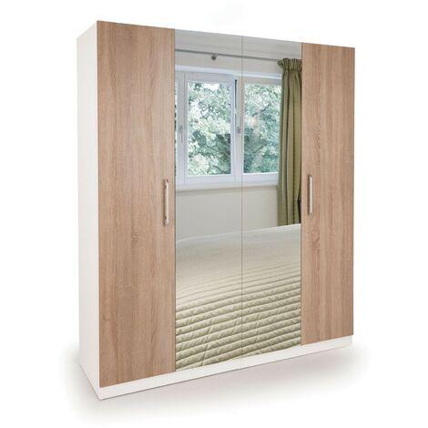 Eitan Wardrobe - Oak Doors 4 Doors