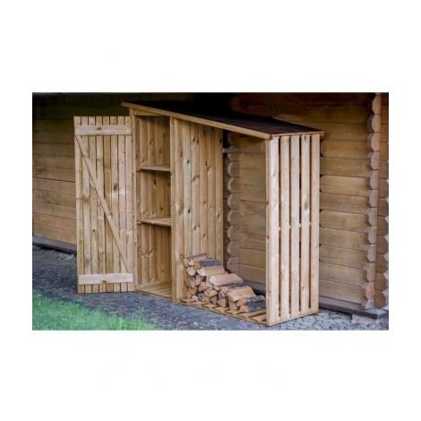 EKJU Armoire de rangement + Abri buches en bois traite - FSC Dimensions : 169 x 55 x 180 / 156 cm - Coloris : Marron.