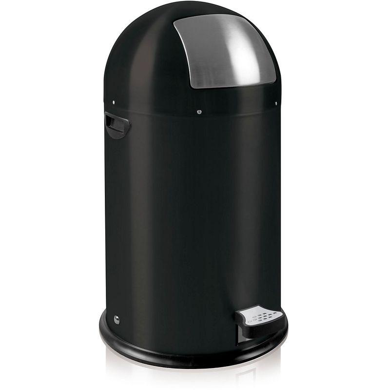 Certeo - Poubelle à trappe, hauteur 700 mm, noir mat - Coloris poubelle: noir|Coloris du couvercle: noir
