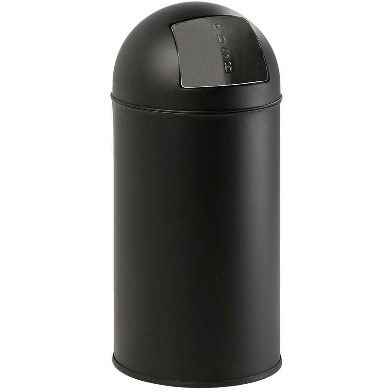 Collecteur de déchets avec couvercle, capacité 40 l, noir mat - Coloris poubelle: noir|Coloris du couvercle: noir