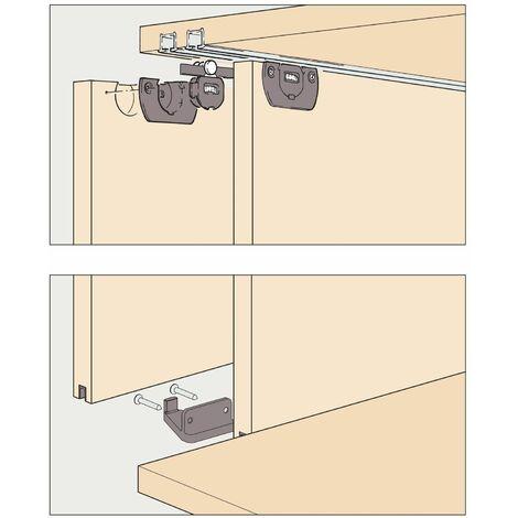 EKU CLIPO 15 H MS Schiebetürbeschlag Garnitur | 1400x1000mm für 2 Türen | höhenverstellbar, anthrazit