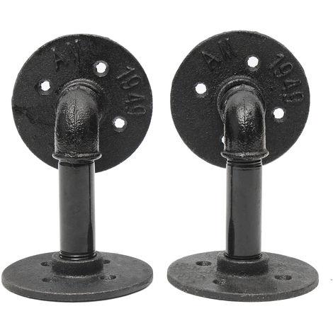 El estante de tubo Steampunk de acero industrial retro DIY de 2 piezas admite techo de 9x13 cm