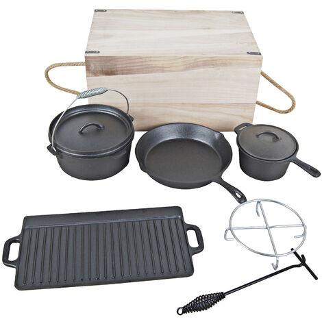 EL Fuego Assortiment de poêles, casseroles et grille nervurée en fonte, avec coffret en bois - 7 pièces