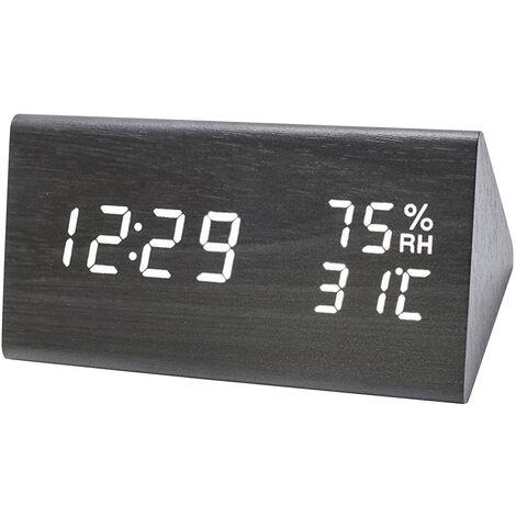 El LED de alarma de madera digital con control de brillo Humedad 3 Voz Dia Fecha temperatura interior del higrometro del termometro de la cabecera turistica Invernadero Jardin Almacen, caqui