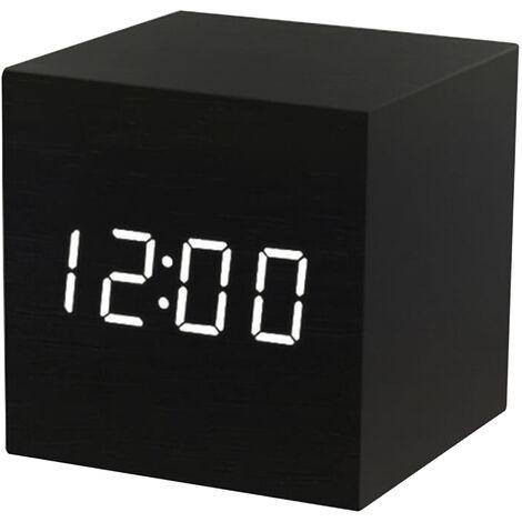 El LED de alarma de madera digital con control de brillo Humedad 3 Voz Dia Fecha temperatura interior del higrometro del termometro de la cabecera turistica Invernadero Jardin Almacen, Negro