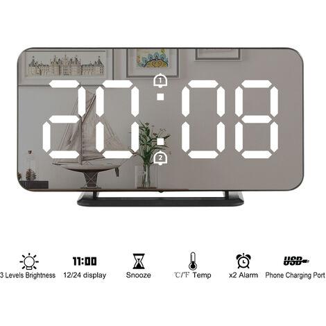 El LED de alarma de reloj digital superficie del espejo grande Tiempo frente de temperatura Funcion de visualizacion ¡æ / ¨H dual alarmas de despertador, Puerto de carga electronica relojes cuelgan o de pie durante habitaciones dormitorio de los ninos de