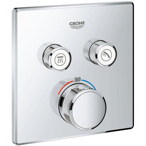 El termostato Grohe Grohtherm SmartControl con dos válvulas de cierre, color: súper acero - 29124DC0