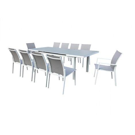 "main image of ""Elada, salon jardin alu gris clair & blanc"""
