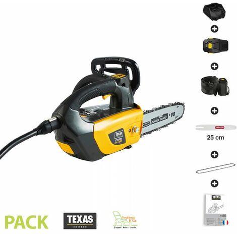 Elagueuse électrique sur batterie ceinture 1500 W guide Oregon 25 cm Texas TCZ 5800 pack chargeur et batterie 58v 2Ah inclus