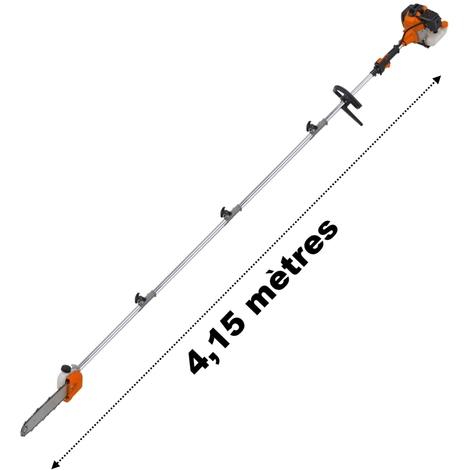 Élagueuse thermique sur perche, 52 cm3, 3 CV, longueur 4.15 mètres