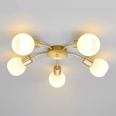 Elaina - LED ceiling light in brass, 5-bulb