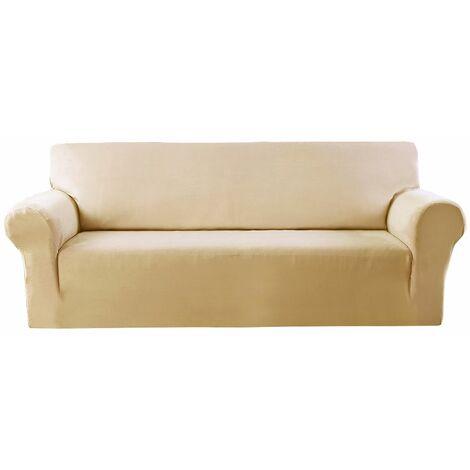 Elastic Stretch Velvet Armchair Cover, Solid Color Sofa (Beige, 1 Seat)