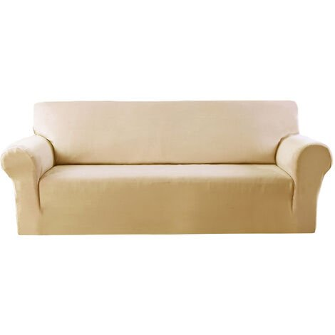 Elastic Stretch Velvet Armchair Cover, Solid Color Sofa (Beige, 2 Seater)