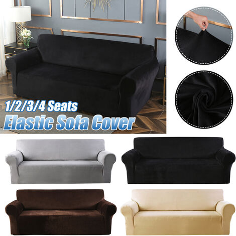 Elastic Stretch Velvet Armchair Cover, Solid Color Sofa (Black, 2 Seats)