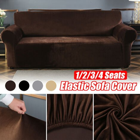 Elastic Stretch Velvet Armchair Cover, Solid Color Sofa (Coffee, 3 Seater)