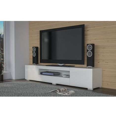 ELBA | Meuble bas TV contemporain gloss 200x40x46 salon/séjour niche 3  portes | Rangement moderne matériel télé/audio/video/gaming | Blanc Brillant