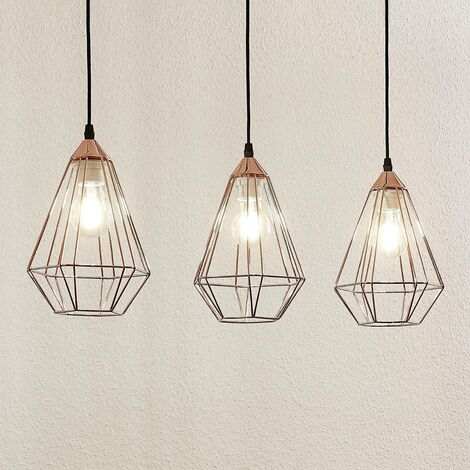 Elda pendant light with cages, linear, copper